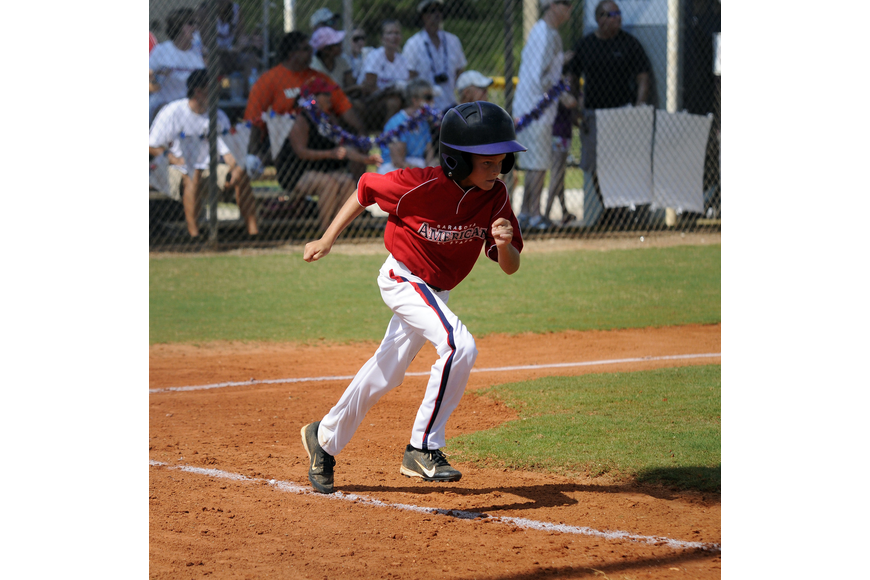 Charlie Cooper hit a RBI double for the Sarasota American 9/10 All-Stars.