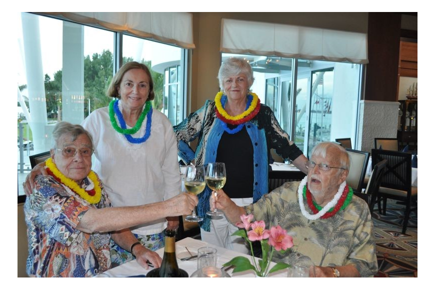 Dean and Barbara Bock and Ingvor and Lynn Tornberg wore leis for the event.