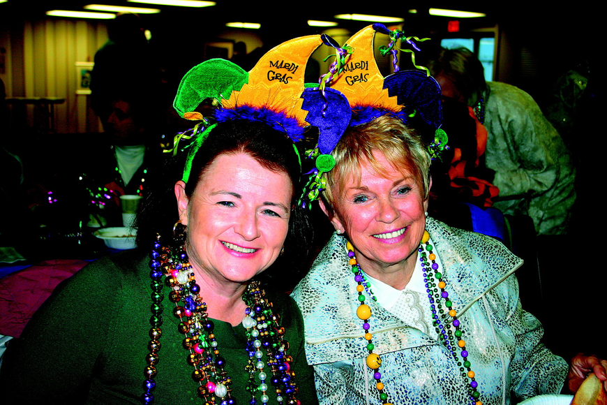 Lynne Hayden and Gail Wyer enjoyed an authentic Cajun dinner in February at Longboat Island Chapel's Mardi Gras celebration.