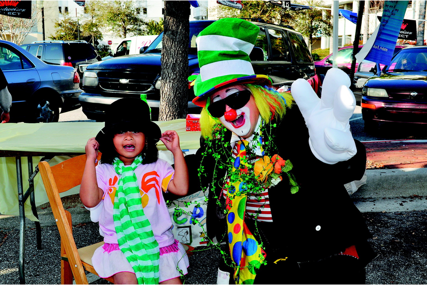 Rocelle Gordon and Willie the Clown goofed around in March at Shamrock Fest.