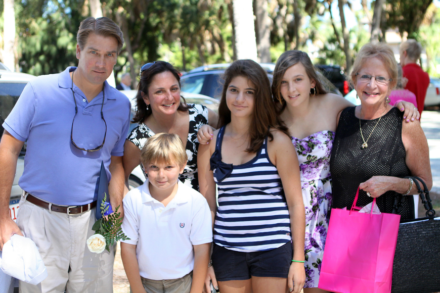 Oliver Young, Patti Young, Oliver Young, Selena Takeran, Emma Young and Nana Patty O'Grady pose together Friday, June 3 after Emma's ODA's 6th grade graduation at Siesta Key Chapel.