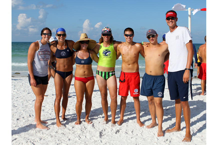 Sarasota County lifeguards Ashley Hanewich, Deena Landen, Katelynn Hanewich, Robert Martini, Jarrett Quinn, Eric Medel and Robert Montgomery.