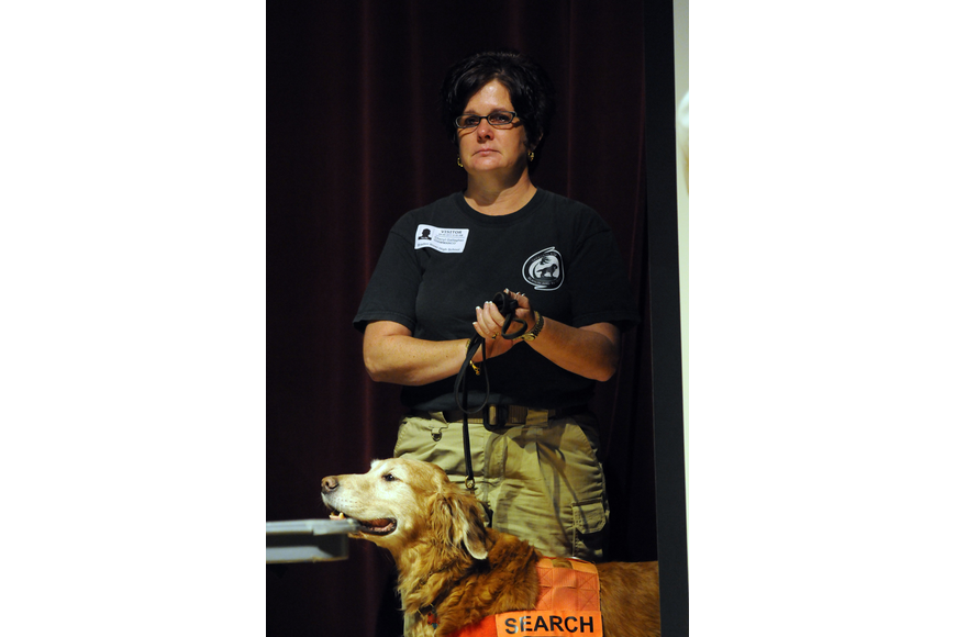 Cheryl Gallagher, pictured with her dog Sekou, is a member of Sarasota K9 Search and Rescue.
