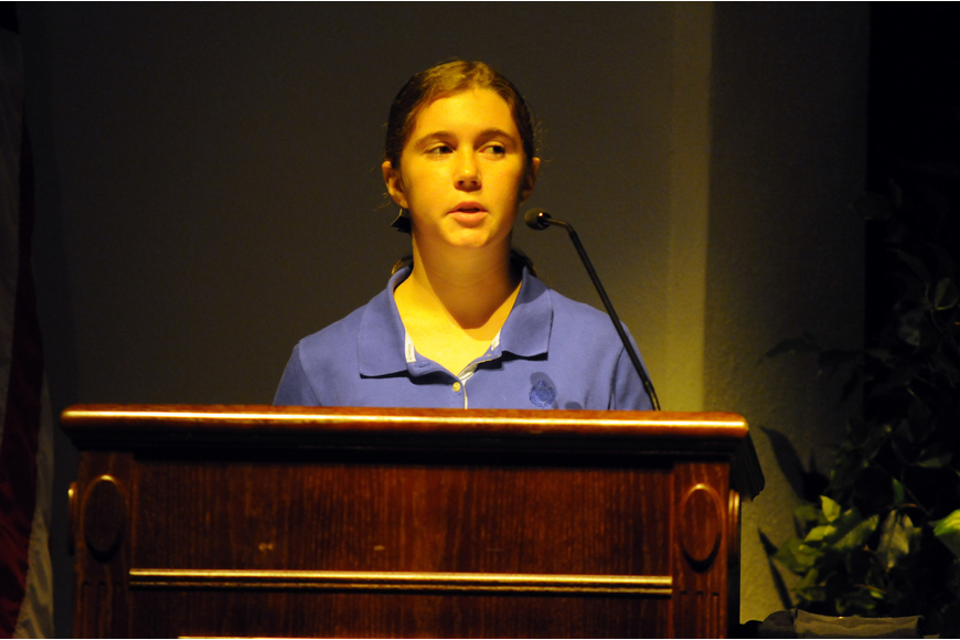 Sarah Schoeffel was one of several students who shared poems they had written in honor of Sept. 11, 2001.