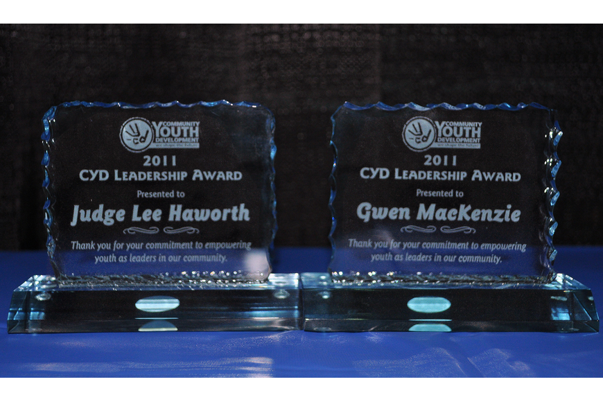 The awards for Judge Lee Haworth and Gwen MacKenzie.