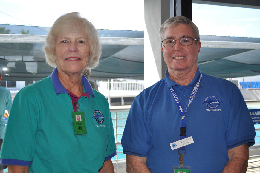 Linda Short is a hospitality volunteer and Tom Maxfield is a guide for Mote.