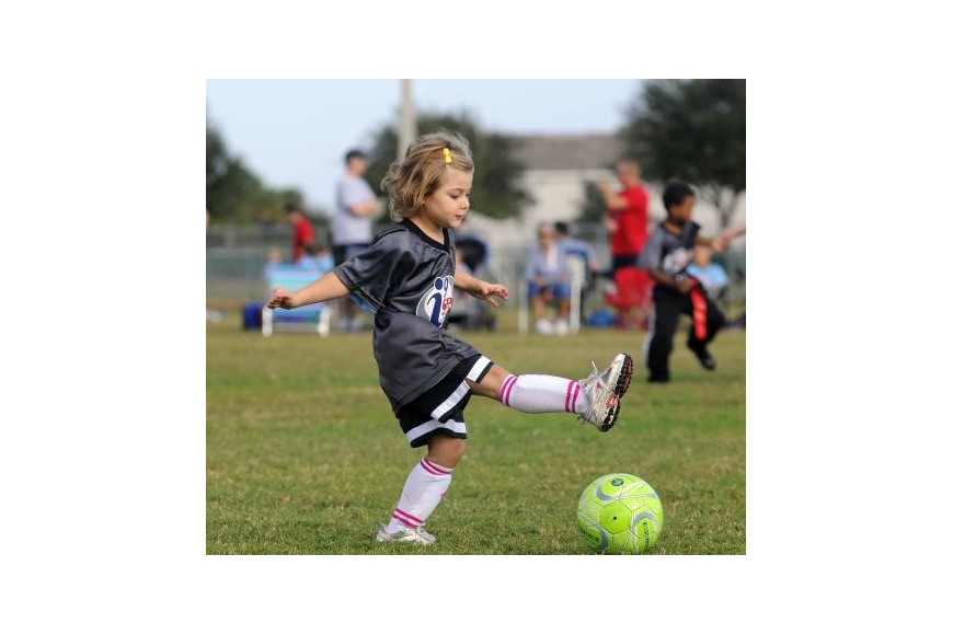 Four-year-old Isabel Neeb played in every game of her first soccer season. Photo by Jen Blanco.