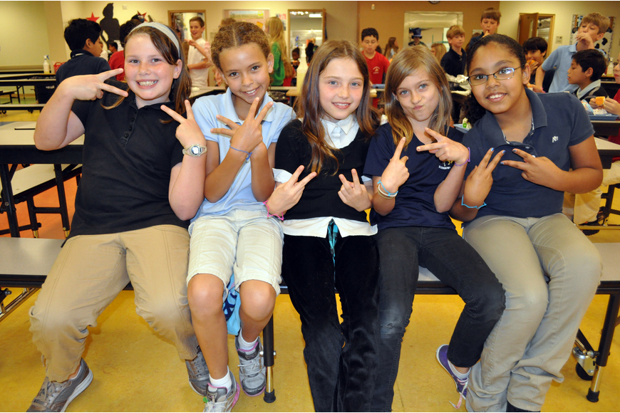 Fourth-graders Malory Wilson, Heaven Bazo, Maddison Spencer, Abigail Widunas and Aracely Alcantar had a blast listening to the music.