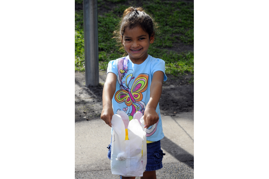 Four-year-old Dereon Lovette was thrilled with her collection of Easter eggs.