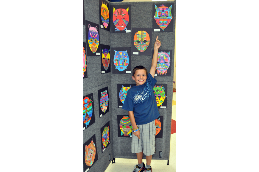 Third-grader Dean Albrecht made a symmetrical mask.
