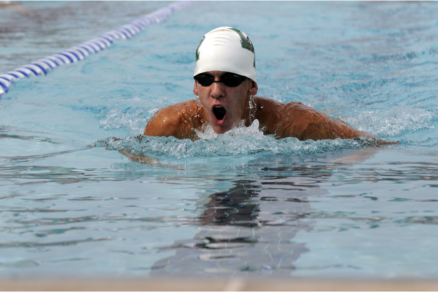 Lakewood Ranch junior Logan Knutson helped lead the Mustangs to a first-place finish in the 200-yard medley relay.