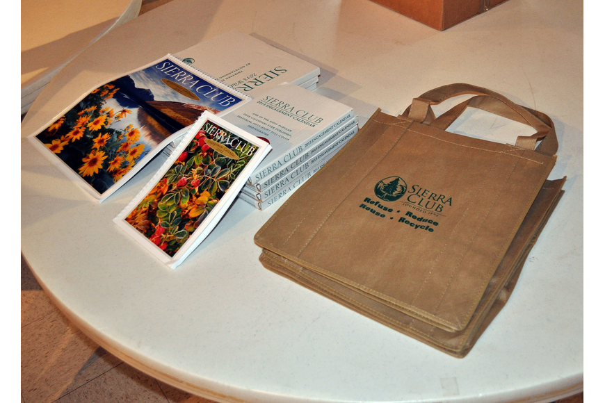 Sierra Club books and reusable tote bags were on display at the Sierra Club meeting Thursday, Oct. 11.