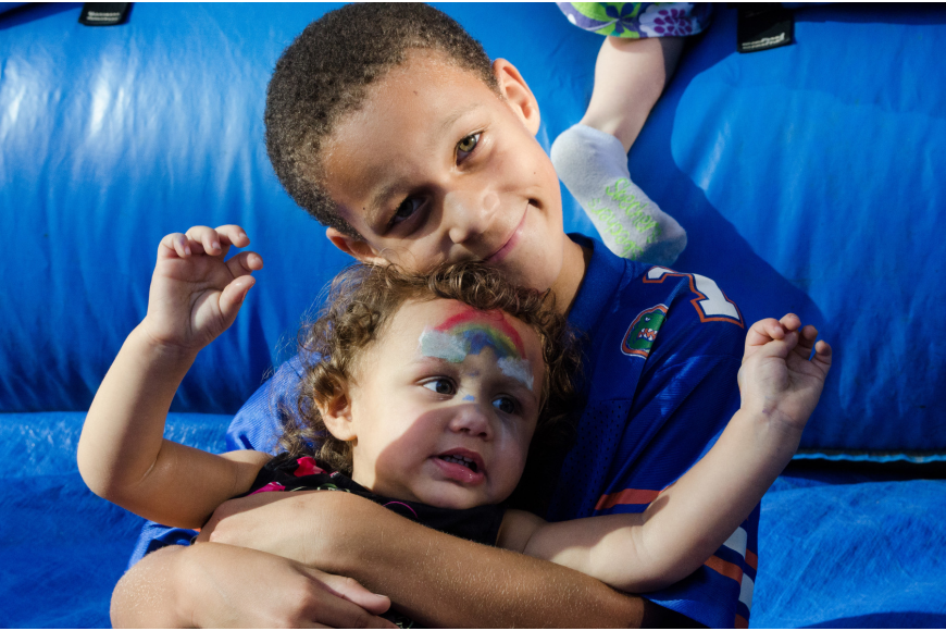 Lila Shelby and her brother Anthony Quandt-Judd played in the bouncy house at J.D. Hamel Park.