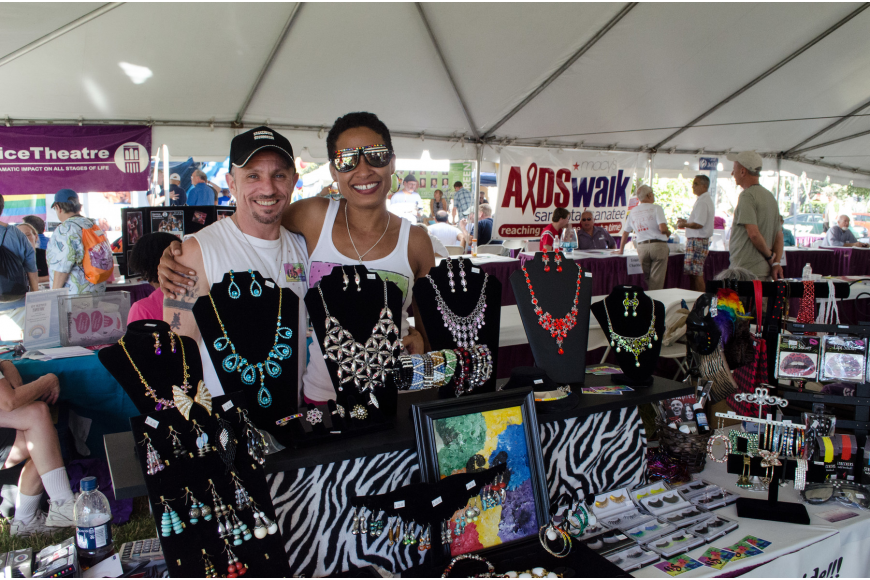 "Andrew and Sasha Sitino sold jewelry and knick knacks from their stage performers boutique 6S in St. Petersburg. ""Everyone is equal, everyone deserves equality, love is love,"" Andrew said."