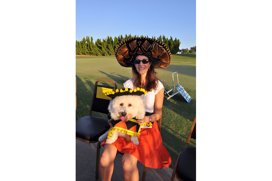 Diane Briganti and Sonny, 3, dressed up in mariachi outfits.