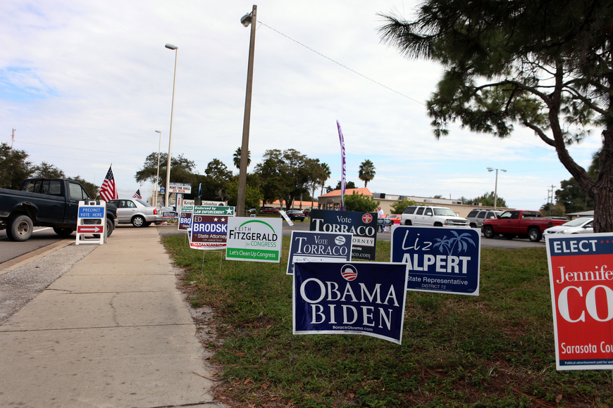 There were a variety of signs out in front of the Knights of Columbus on Fruitville Road, one of the many polling places in Sarasota County.