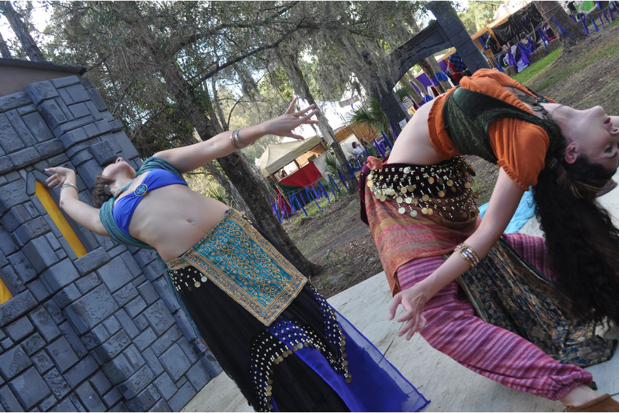 Jessica and Angela Hicks perform belly dancing.