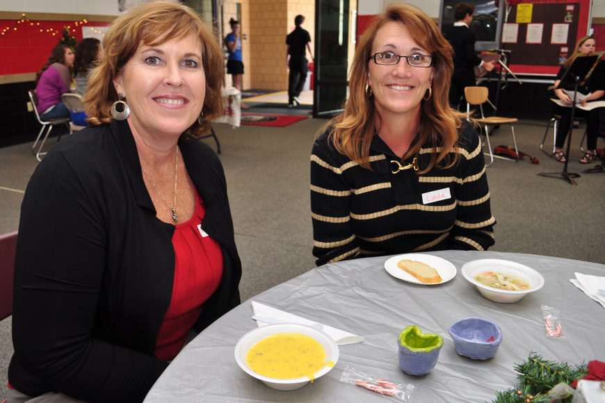 Susan Minner and Linda Applegate enjoyed soup.