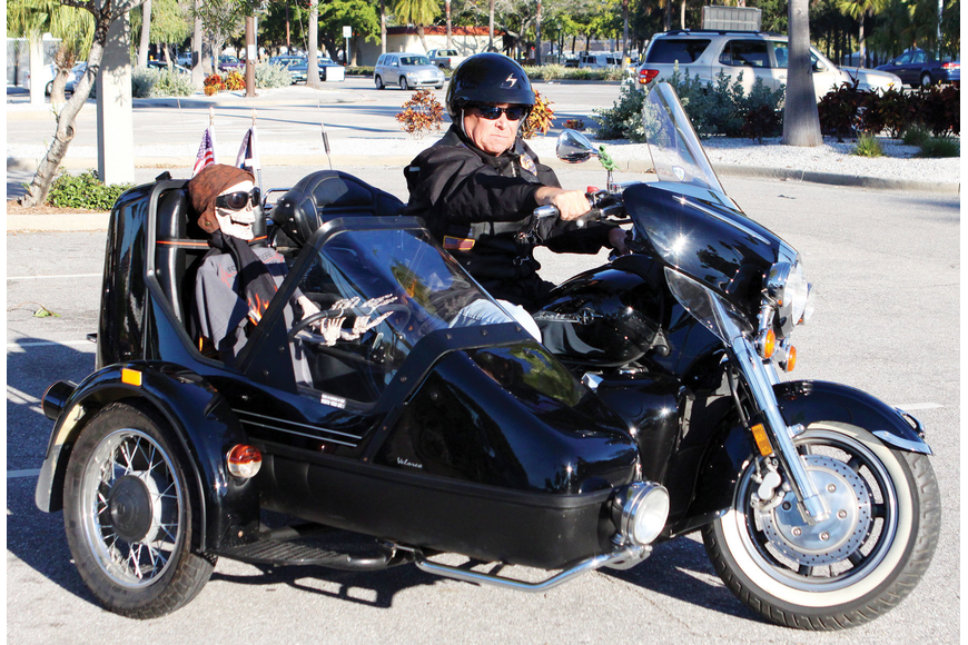 Bob Fowler's motorcycle sidecar included a skeleton he referred to as