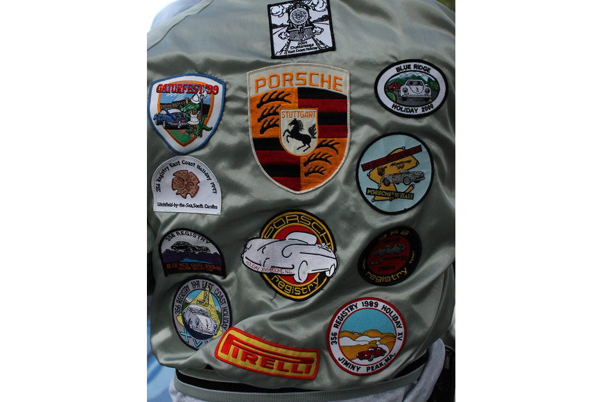 The back of Joseph De Nais' jacket was covered in a wide variety of Porsche patches.