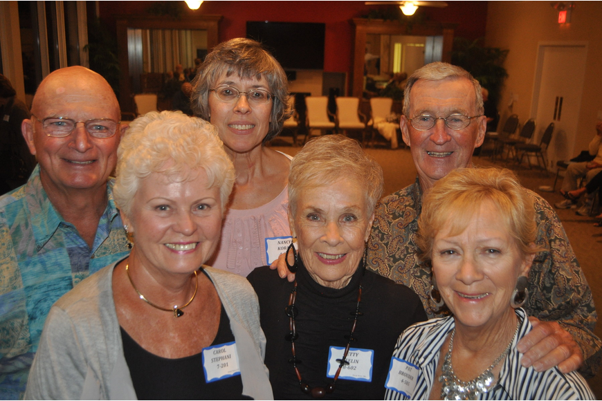 front, Carol Stephani, Betty Keelin and Pat Brouder; back, Ron Stephani, Nancy Koran, Jack Keelin