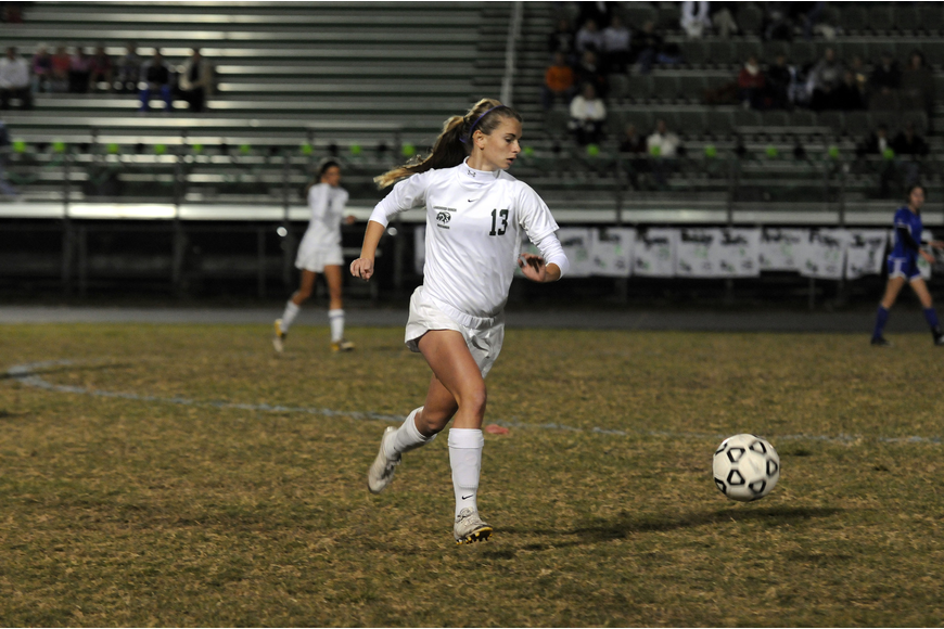 Lakewood Ranch forward Tyler Gordon scored the Lady Mustangs final goal of the night.
