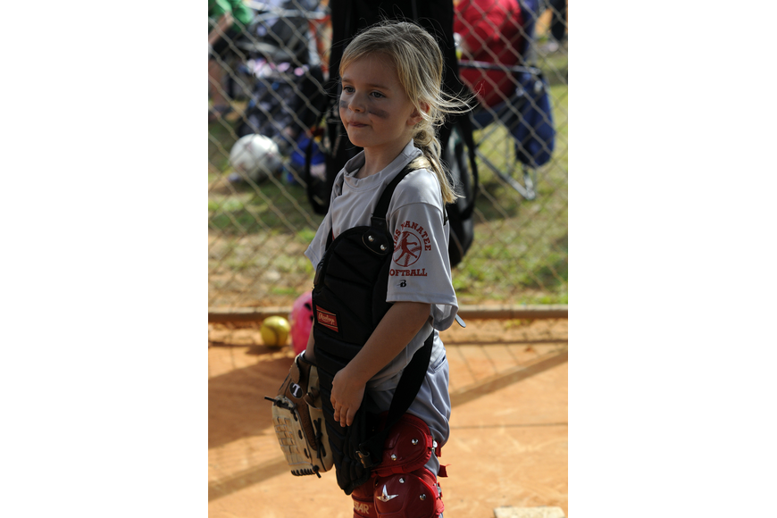 Allie Thompsen, 6, enjoyed being the catcher.