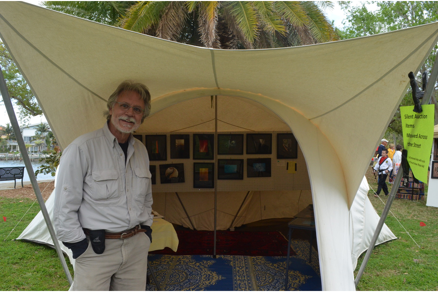 Wayne Eastep showcased his photography in a tent. He once lived with the Bedouin, a nomadic tribe, in Saudi Arabia, and recently released a book on Kazakhstan.