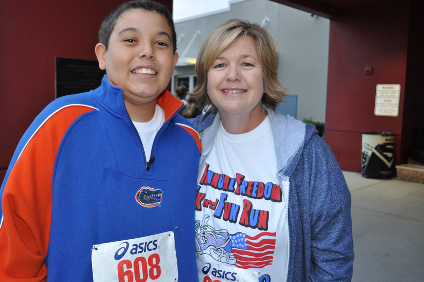 Timothy Liaros, 11, and his mother, Tina, did their first race together.