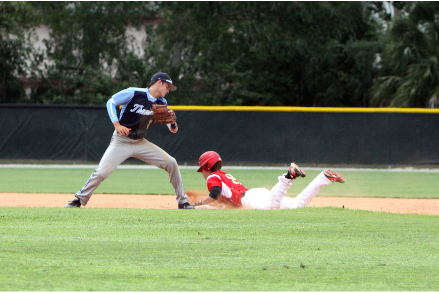Out-of-Door Academy's Jimmy Kuebler, No. 2, tries to tag out Cardinal Mooney's Beau Billings, No. 8, as Billings slides into second.