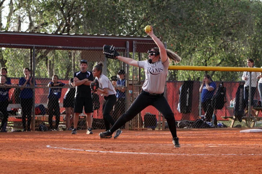 Riverview's Deanna Stevens, 10, winds up to throw the ball towards home plate.