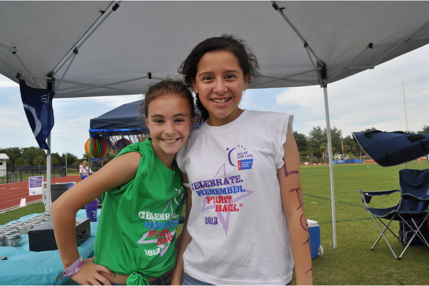 Out-of-Door sixth graders Sydney Hill and Jessica Navarro, co-captains of Team Lightening. The team raised $3,355.