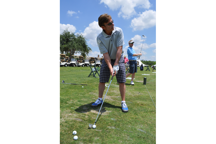 Joel Meyerson practices his swing.