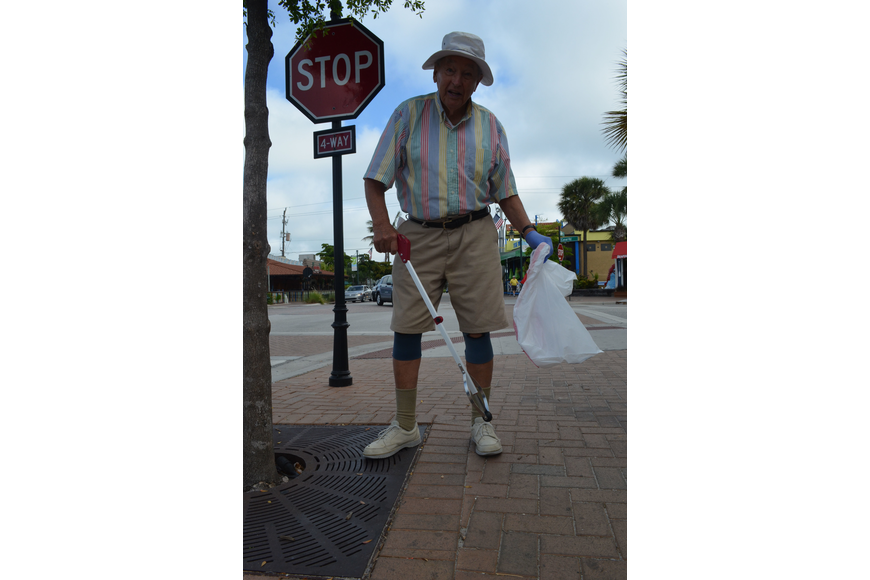 Don Moberg has been a Siesta key resident since 1988. He helped pick up trash in Siesta Key Village on Saturday morning.