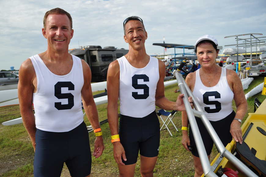 Sarasota Crew members Jerry Burson, Perry Young and Rebecca Bolletti prepare for their races.