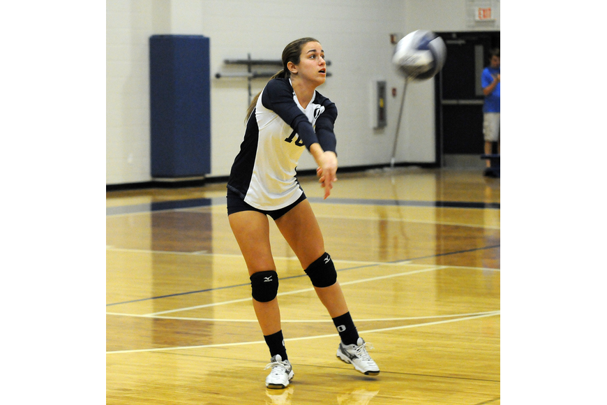 ODA junior Jenna Bloch passes the ball back to a teammate in the second set.