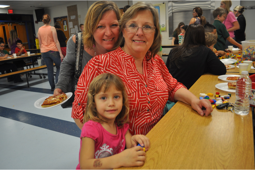 Shannon Vargas, Shirley Armstrong and Isabella Vargas, a pre-K student