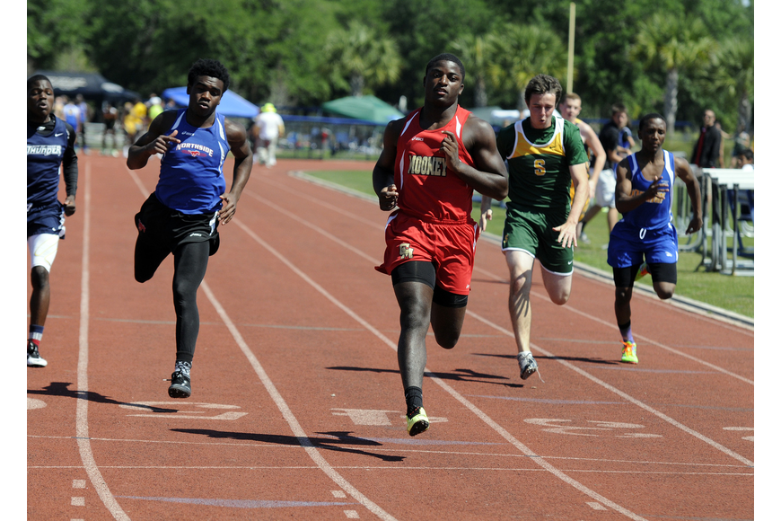 Cardinal Mooney's Demardre Patterson finished second in the preliminaries and third overall in the 100.
