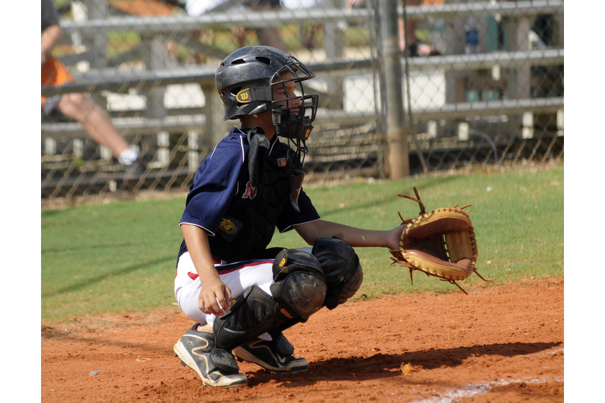 Leo Fisher is one of the catchers for the Sarasota National 9/10 All-Star team.
