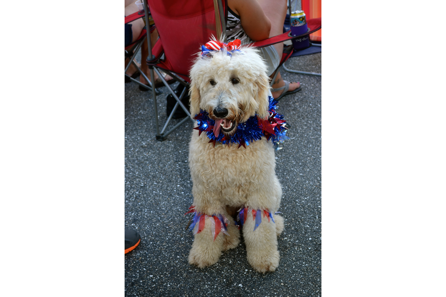 Eight-month-old Sydne shows off her red, white and blue.
