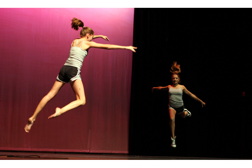 Sara Vaught and Andie Tradler performed a tumbling act.