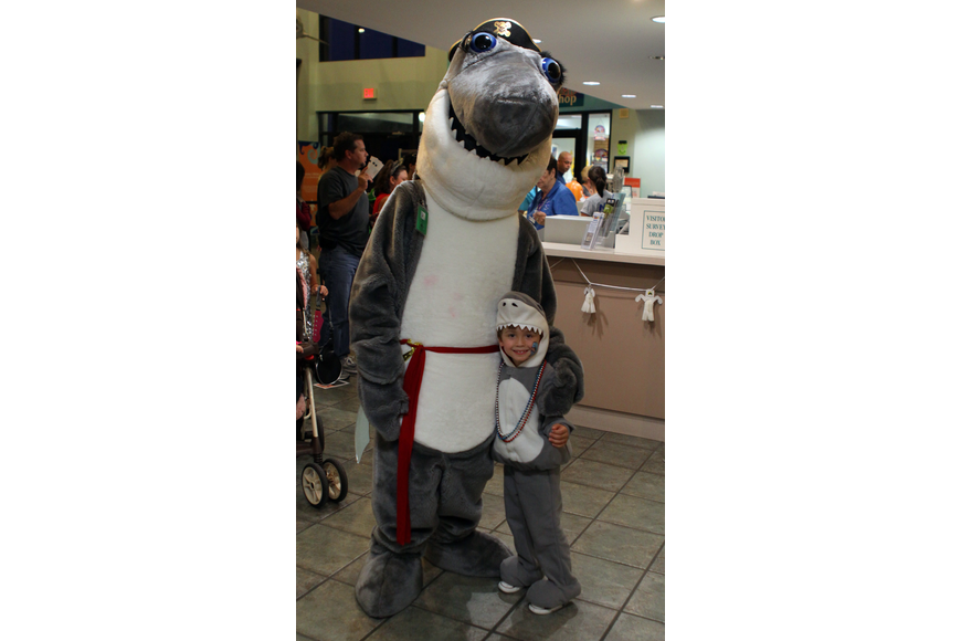 Gilly the Shark poses with his look-a-like, Preston Milligan.