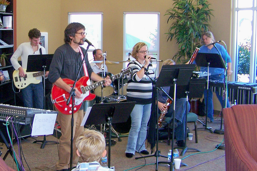 Members of Cornerstone's worship team performed at the celebration. Photo by Doug Paulin.