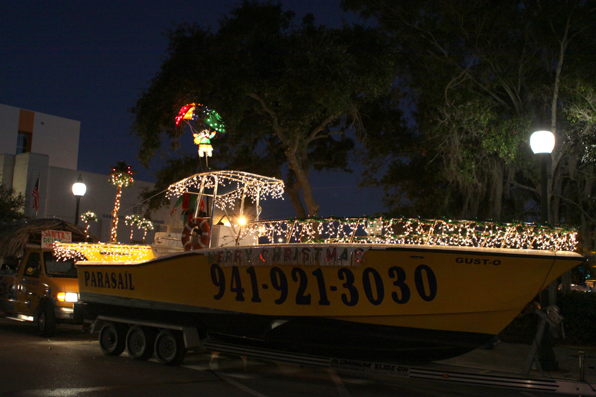 Siesta Key Watersports brought out one of their boats used for parasailing to be in the parade on Saturday, Dec. 4.