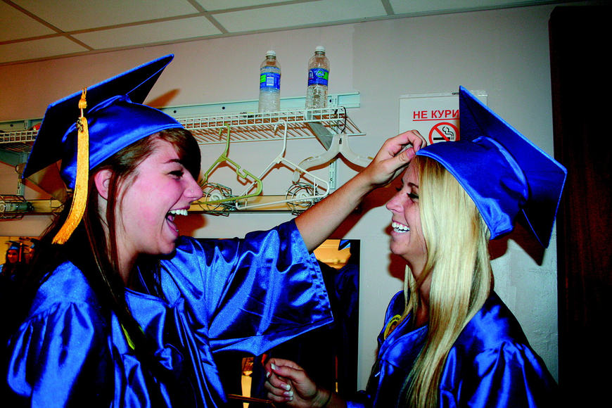Rebecca Dart and Meagan Schlosser prepped for Pine View's graduation in June at Van Wezel.