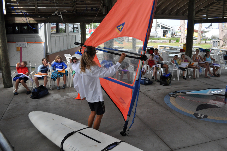 Laurel Kaiser goes over the proper terms that the kids need to know when it comes to rigging their wind surfing equipment Friday, July 8 during the Island Style Water Sports Camp.