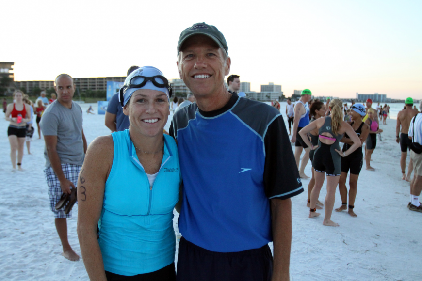 Megan Stephens and John McGruder, father and daughter, both participated in the Siesta Key Triathlon Saturday, July 23 out at Siesta Key Public Beach.