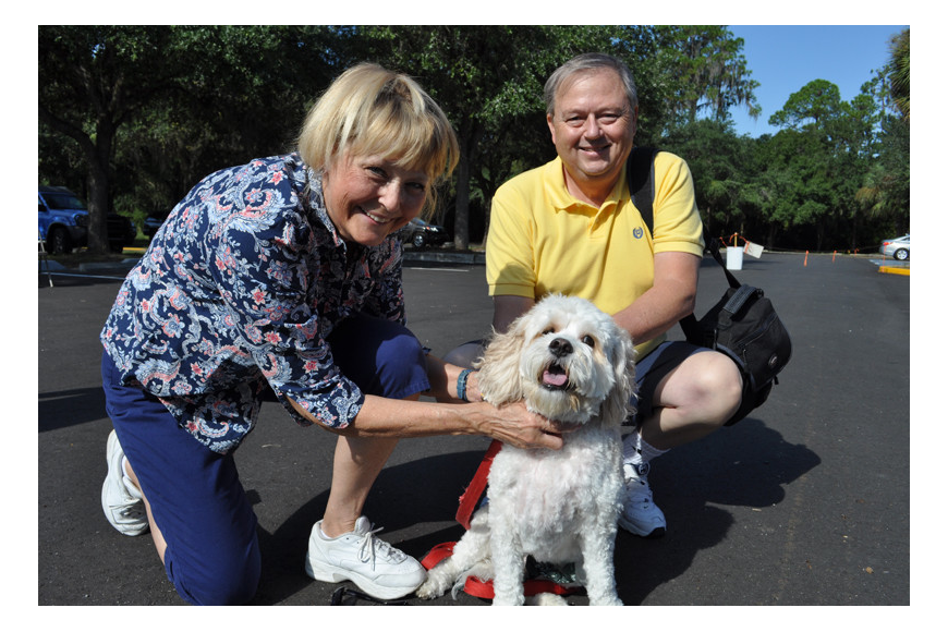 Linda and Ernie Ovitz spent the morning with their dog, Louie.
