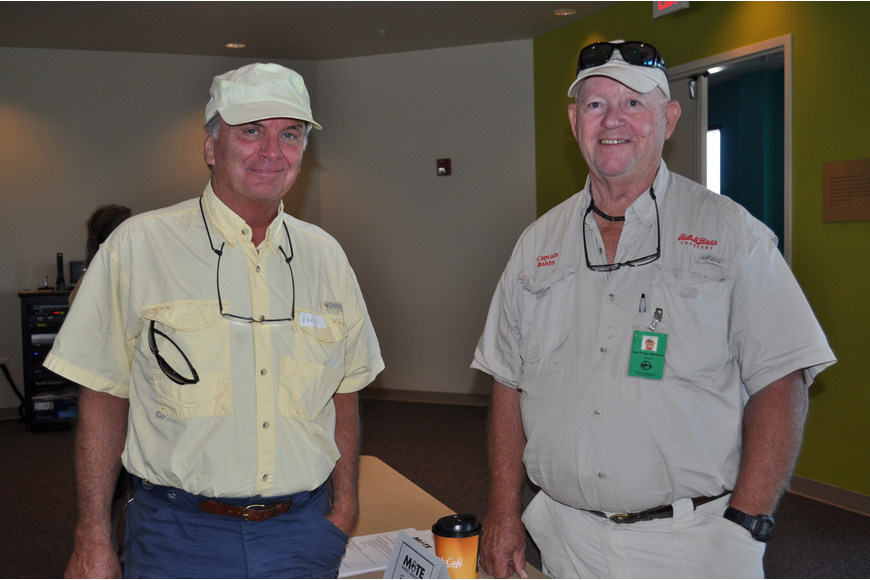 Fred Morey wants to be a volunteer for Mote and Capt. Bobby Hilbrunner is a volunteer in the fisheries department.