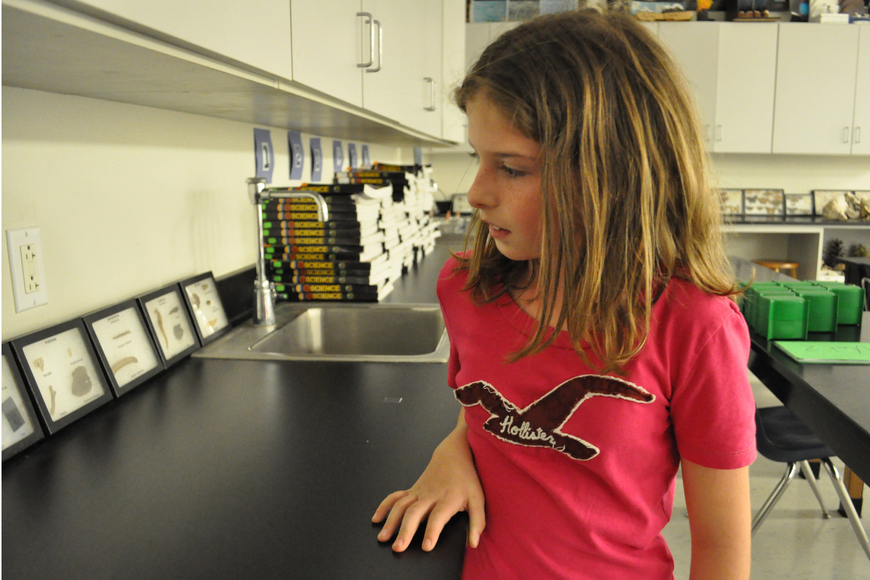Natalie Merrill checked out a science classroom.
